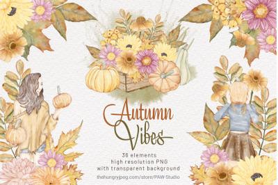 Fall Watercolor Clipart Autumn Pumpkin Thanksgiving Day