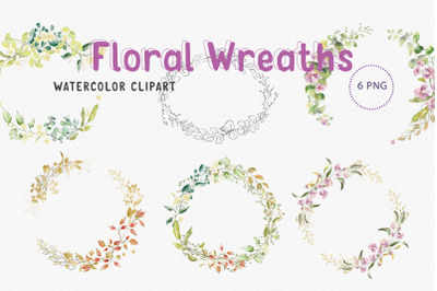 Watercolour Round shaped wreaths Clip Art 6 PNG