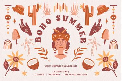 Boho summer. Vector collection