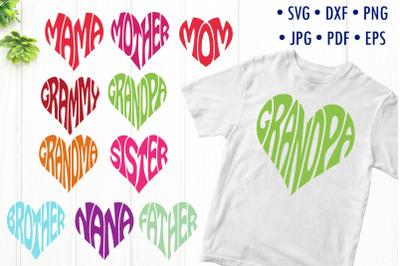 Family members svg cut files, hearts designs