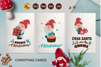 Christmas cards. Cartoon gnomes and quotes