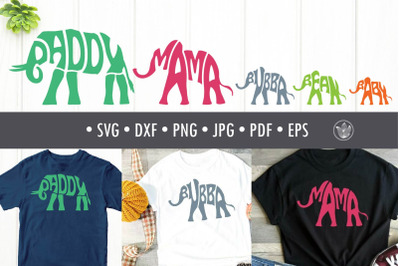 Bundle typography family Elephants svg cut file, Lettering
