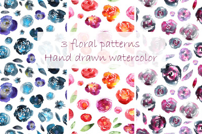 Hand-drawn watercolored floral patterns