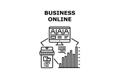 Business Online Vector Concept Black Illustration