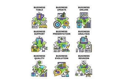 Business Evolution Set Icons Vector Illustrations