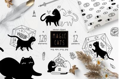 Magic Cats vector clipart