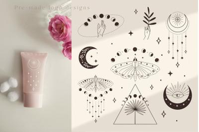 Divine Beauty Pre-Made Logo Designs. Moon, stars, sunburst, moth. Arm.