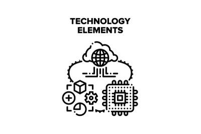 Technology Elements Vector Concept Color Illustration