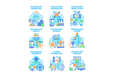 Global Technology Set Icons Vector Illustrations