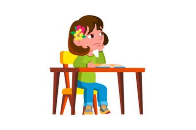 Thoughtful Girl Kid Dream In Classroom Vector