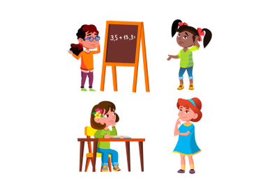Thoughtful Girls Thinking About Problem Set Vector
