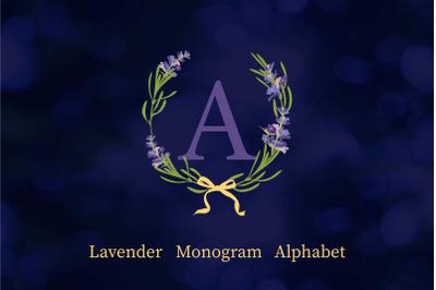 Alphabet Lavender Wreath Monogram