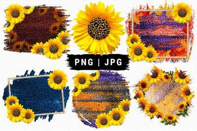 Sunflower Wood Sublimation Designs, Leopard print PNG