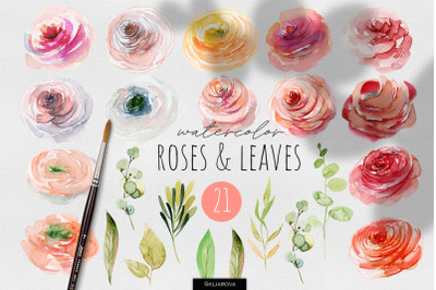 Roses and Leaves Watercolor Clipart