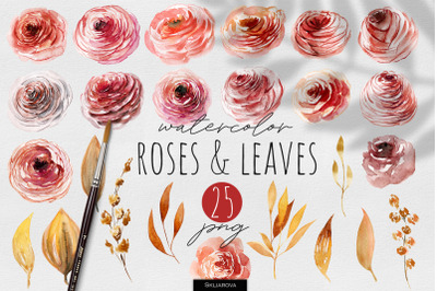 Autumn Roses & Leaves Watercolor Clipart