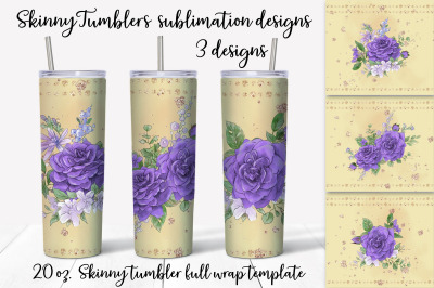 Roses sublimation design. Skinny tumbler wrap design