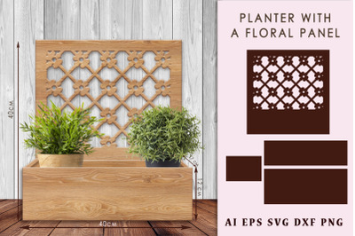 Planter with a floral panel. DIY home decor
