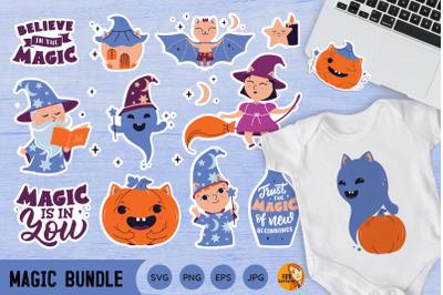Magic bundle. Halloween stickers