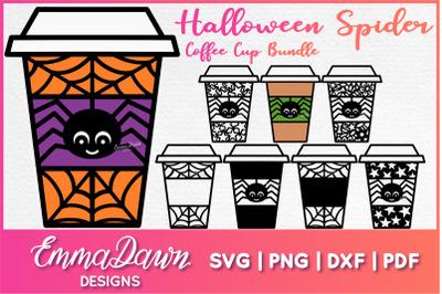 HALLOWEEN SPIDER COFFEE CUP SVG BUNDLE 8 Designs