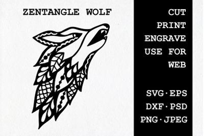 Zentangle Wolf | SVG DXF EPS PSD PNG JPEG