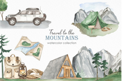 Travel to the mountains watercolor