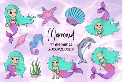 Cute Mermaid clipart. Sea animals, Ocean, Sublimation