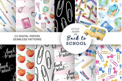 Watercolor School Seamless pattern