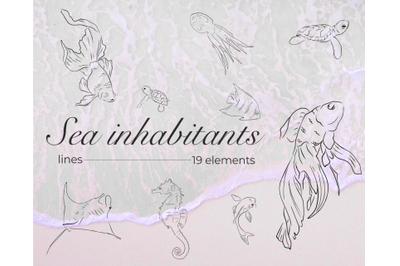 Sea Inhabitants, Design Elements, Digital Download, Shell Fish