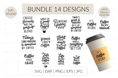 Coffee quotes svg bundle, coffe sayings svg. Coffee lover svg hand let
