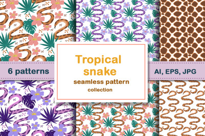 Tropical snake patterns set