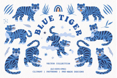 Blue tiger   Vector collection