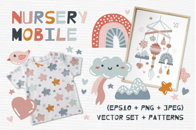 Nursery Mobile. Clipart and patterns