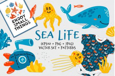 Sea Life. Nautical clipart +patterns