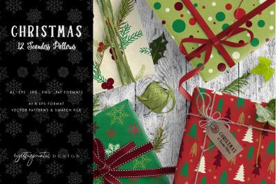 12 Seamless Christmas Patterns