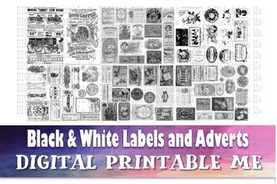 Vintage Labels and Advertisements, Black White Junk Journal, Antique A