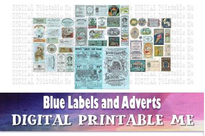 Vintage Labels and Advertisements, Blue Aqua Junk Journal, Antique Adv