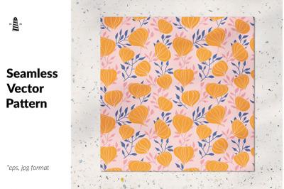 Orange flowers seamless pattern