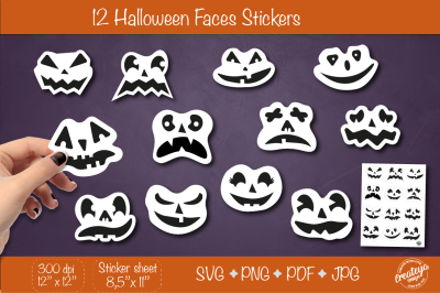 Halloween stickers PNG. Sticker Pack PNG. Faces stickers svg