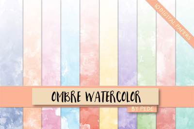 Ombre watercolor digital paper pack