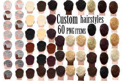 Custom Hairstyles Clipart,Hair clipart, bald man hairstyles