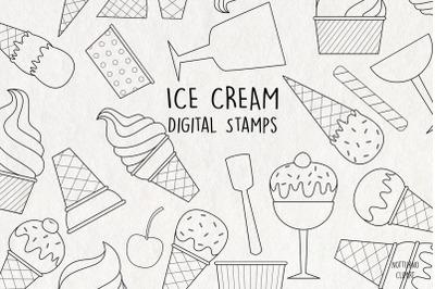 Ice Cream SVG Digital Stamps    Set of 35