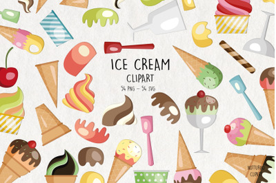 Ice Cream SVG Clipart  Set of 54