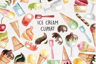 Watercolor Ice Cream Clipart    Set of 54