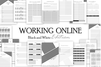 Working online printable planner: Black and White Edition.