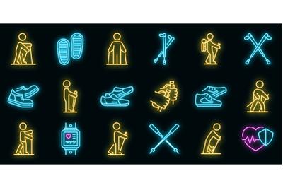 Nordic walking icons set vector neon