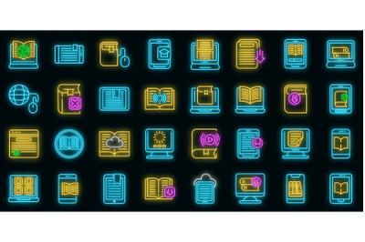 E-book application icons set vector neon