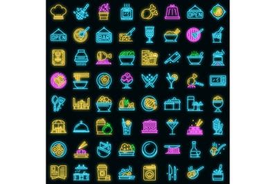 Restaurant icons set vector neon