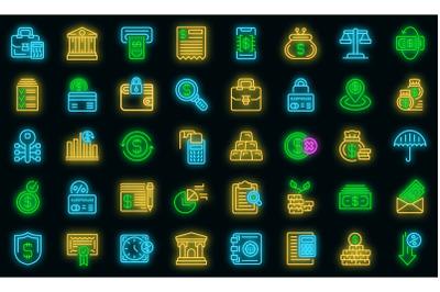Bank icons set vector neon