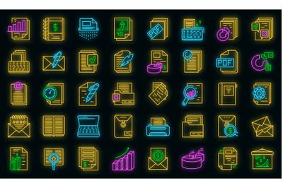 Report icons set vector neon