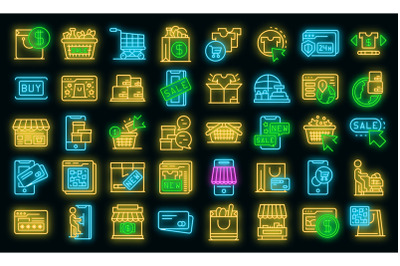 Online shopping icons set vector neon
